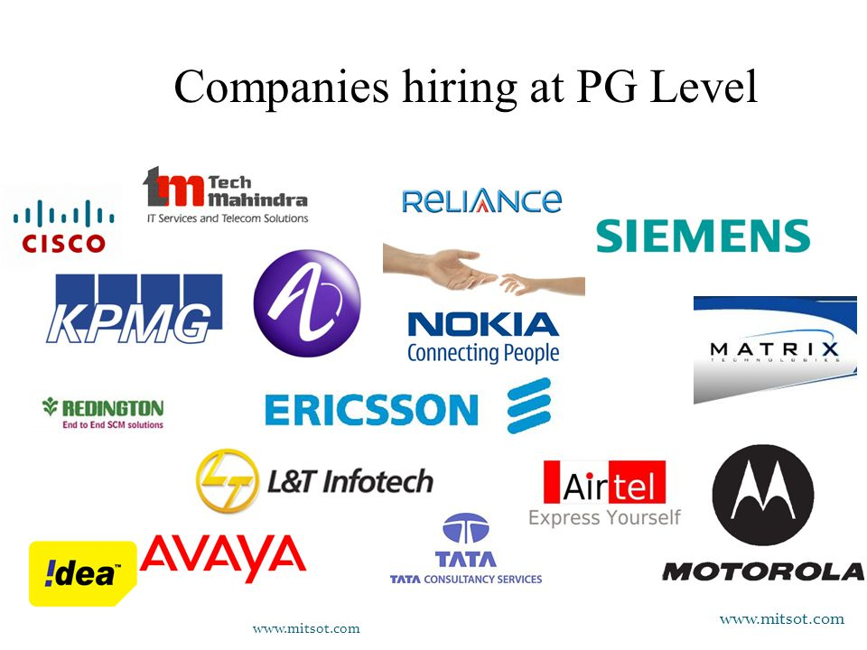 Companies hiring at PG Level www.mitsot.com