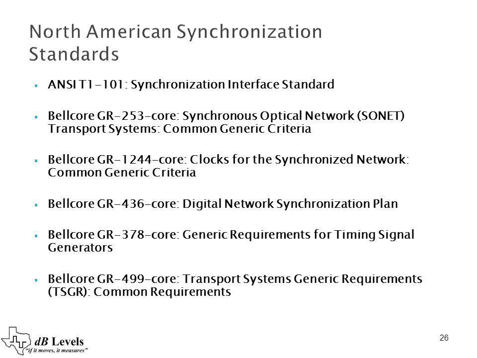 26 North American Synchronization Standards ANSI T1-101: Synchronization Interface Standard Bellcore GR-253-core: Synchronous Optical Network (SONET)
