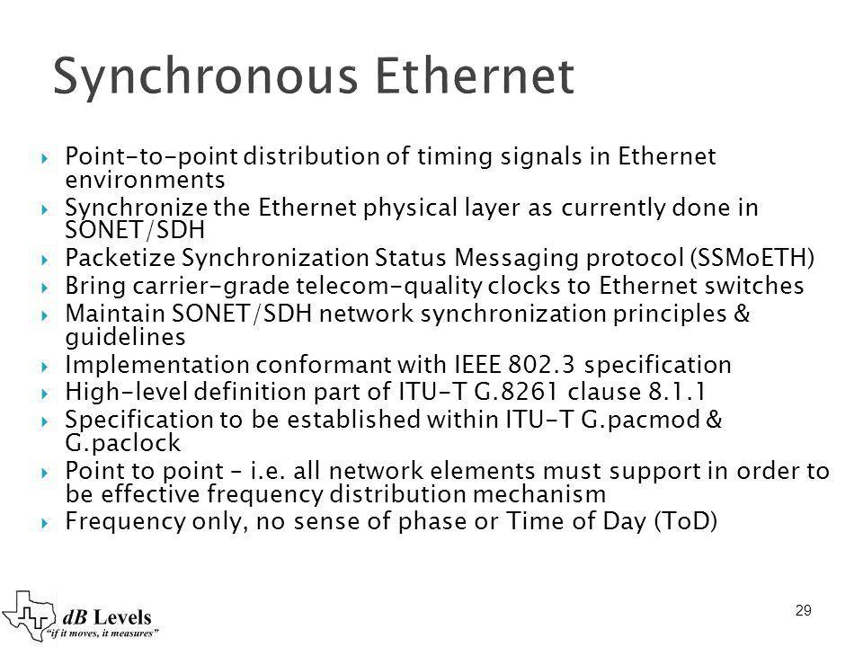 29 Synchronous Ethernet Point-to-point distribution of timing signals in Ethernet environments Synchronize the Ethernet physical layer as currently do