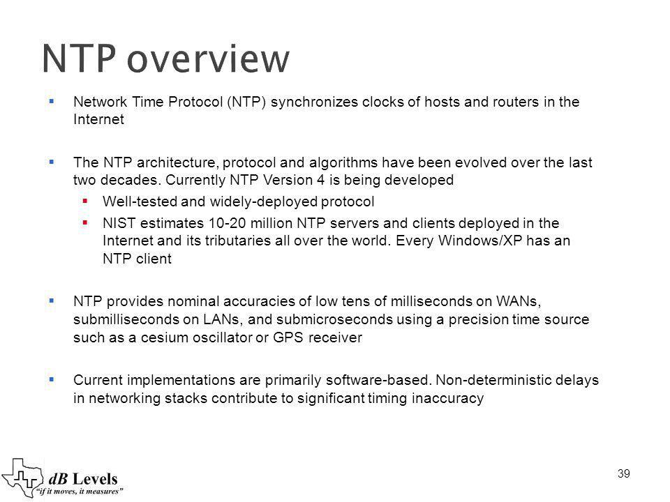 39 NTP overview Network Time Protocol (NTP) synchronizes clocks of hosts and routers in the Internet The NTP architecture, protocol and algorithms hav