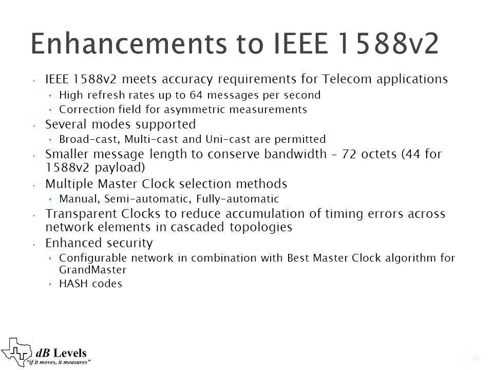 Enhancements to IEEE 1588v2 IEEE 1588v2 meets accuracy requirements for Telecom applications High refresh rates up to 64 messages per second Correctio