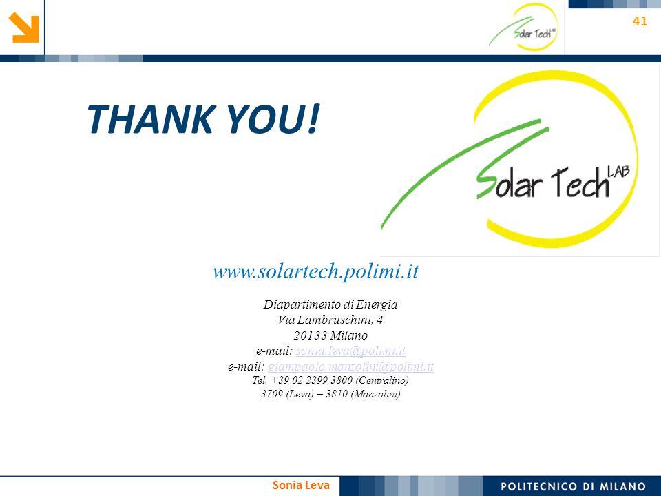 41 Sonia Leva www.solartech.polimi.it Diapartimento di Energia Via Lambruschini, 4 20133 Milano e-mail: sonia.leva@polimi.itsonia.leva@polimi.it e-mai