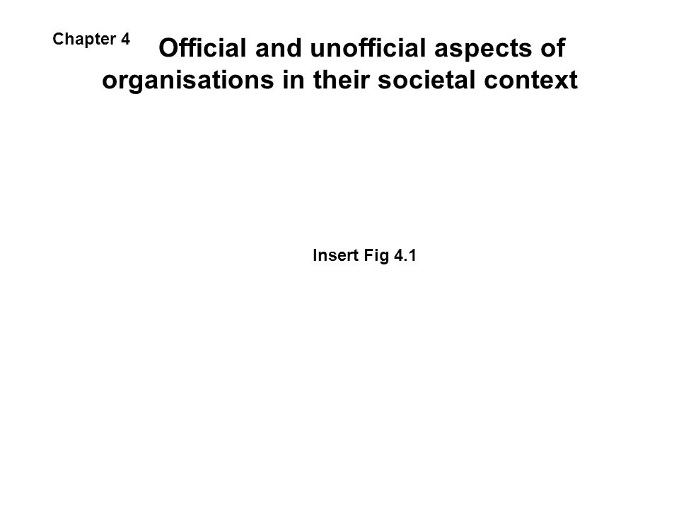Official and unofficial aspects of organisations in their societal context Insert Fig 4.1 Chapter 4