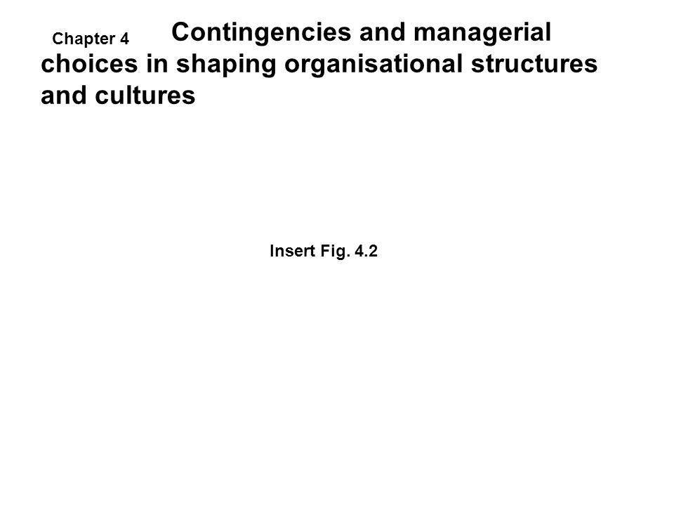 Contingencies and managerial choices in shaping organisational structures and cultures Insert Fig. 4.2 Chapter 4