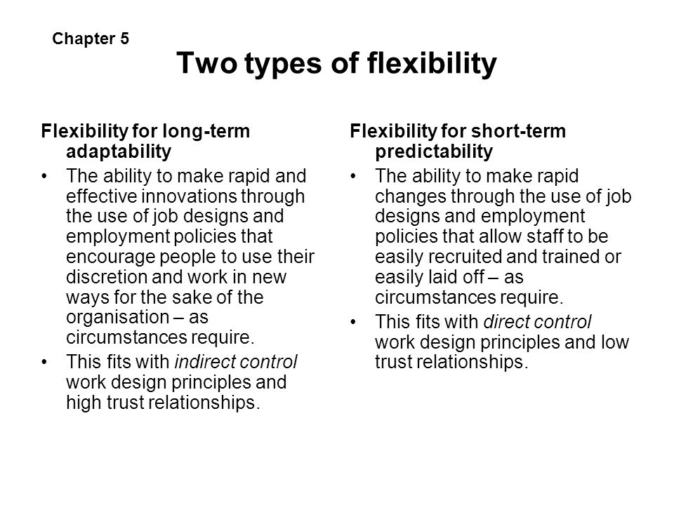 Two types of flexibility Flexibility for long-term adaptability The ability to make rapid and effective innovations through the use of job designs and