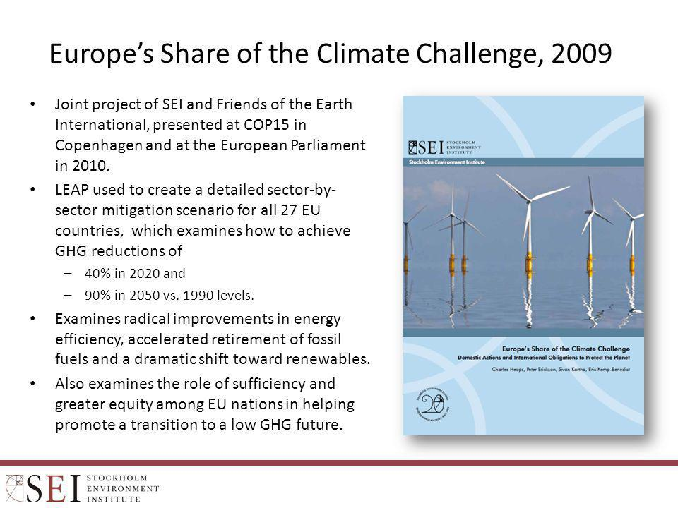 Europes Share of the Climate Challenge, 2009 Joint project of SEI and Friends of the Earth International, presented at COP15 in Copenhagen and at the
