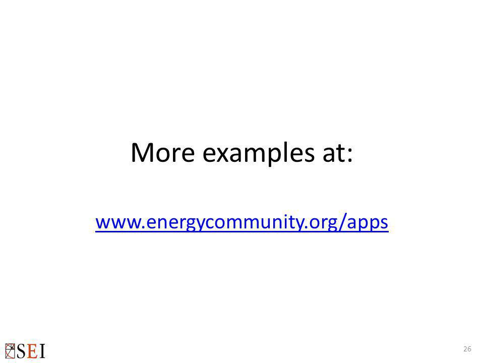 More examples at: www.energycommunity.org/apps 26