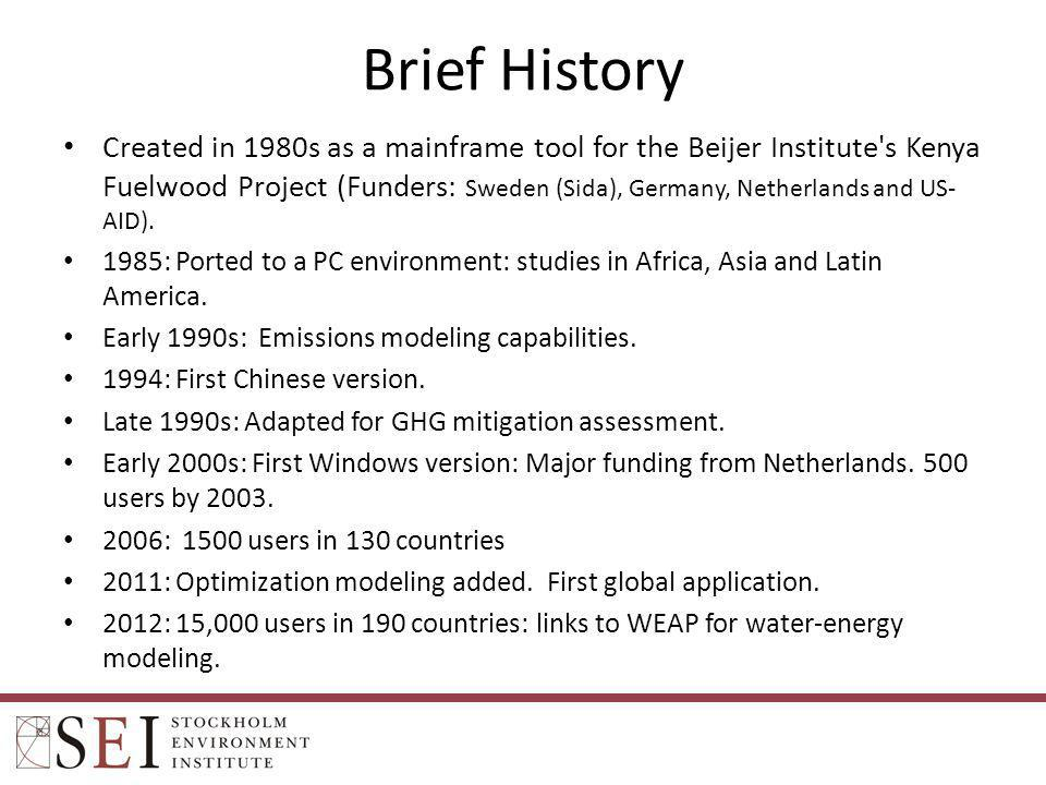 Brief History Created in 1980s as a mainframe tool for the Beijer Institute's Kenya Fuelwood Project (Funders: Sweden (Sida), Germany, Netherlands and