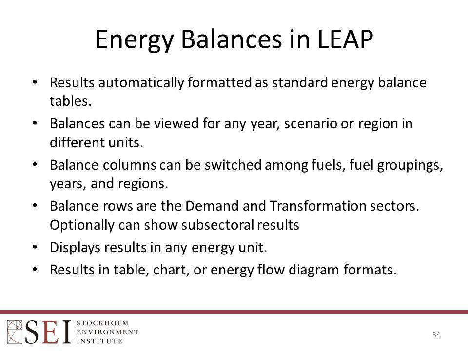 Energy Balances in LEAP Results automatically formatted as standard energy balance tables. Balances can be viewed for any year, scenario or region in