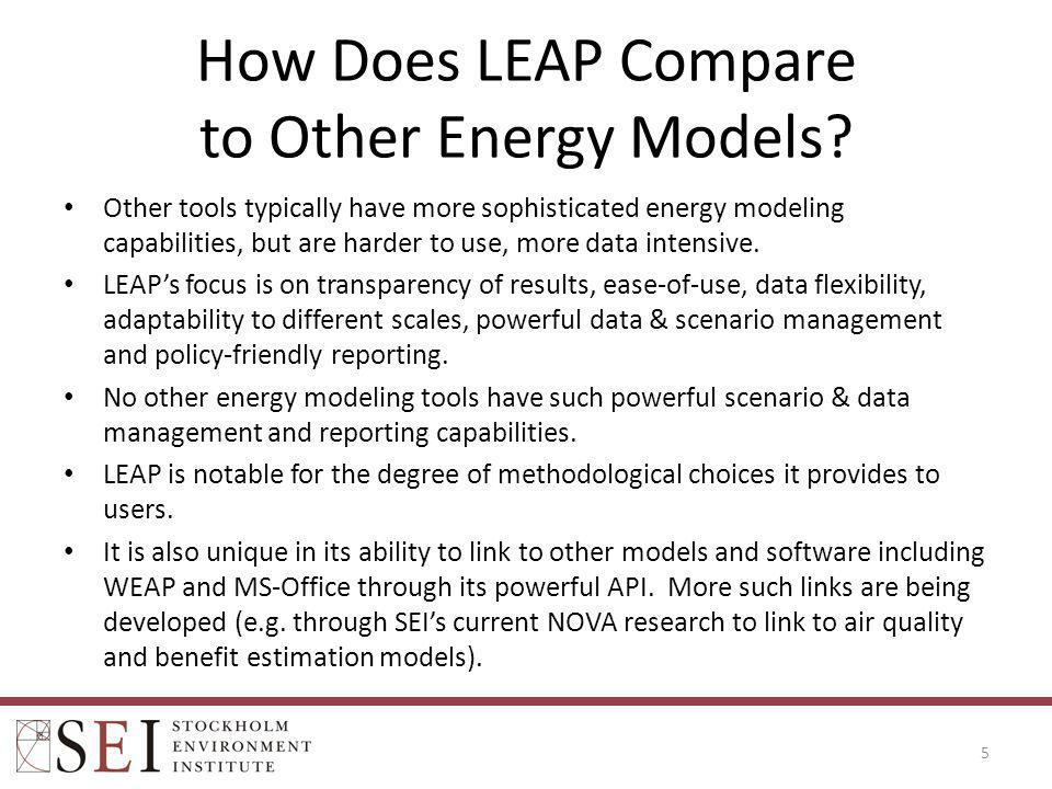 LEAP Data Requirements Low initial data requirements..