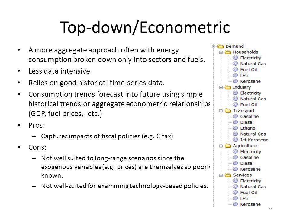Top-down/Econometric A more aggregate approach often with energy consumption broken down only into sectors and fuels. Less data intensive Relies on go