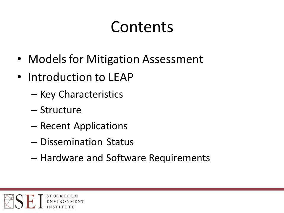 LEAP 2011 May 2011: SEI released major new version of LEAP.