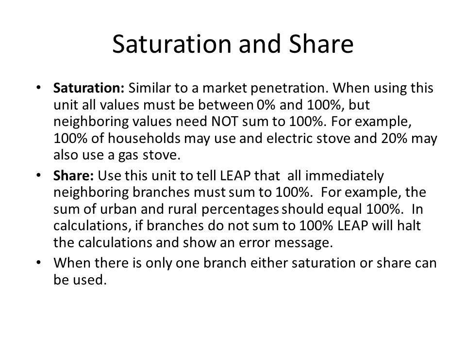 Saturation and Share Saturation: Similar to a market penetration. When using this unit all values must be between 0% and 100%, but neighboring values