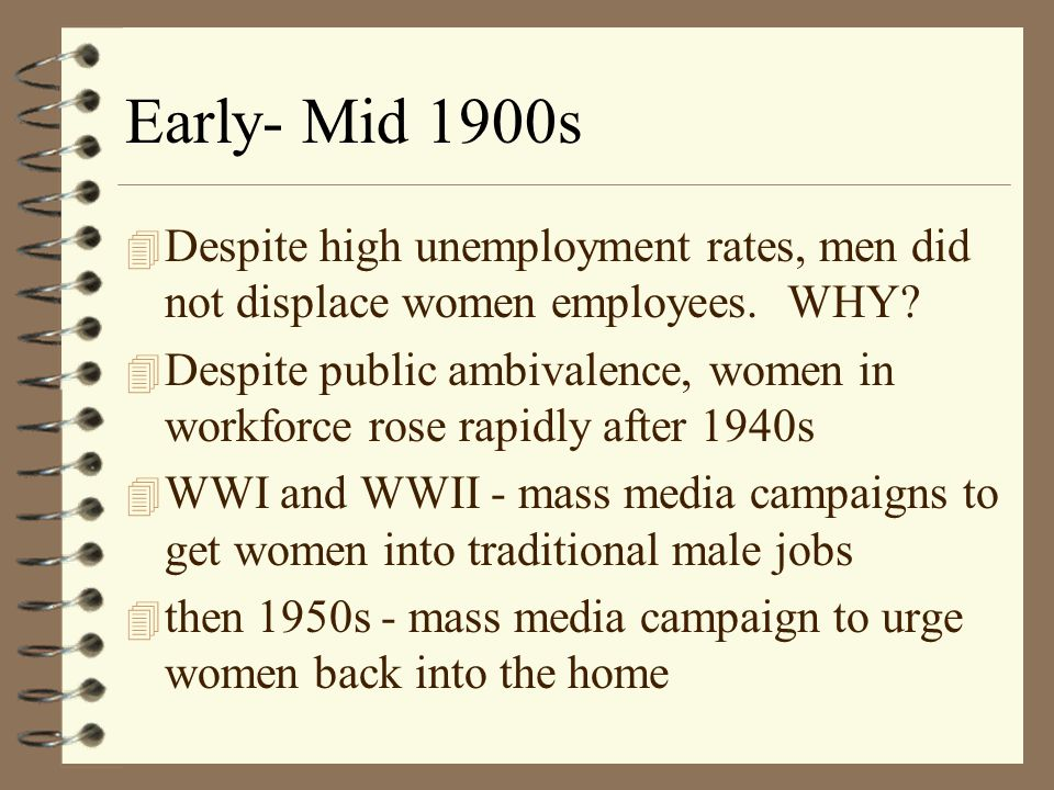 Expansion of work roles 4 Late 19th C.