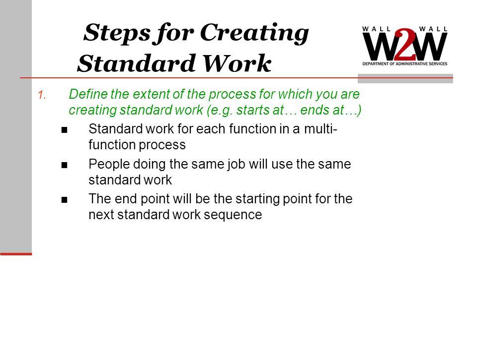 Steps for Creating Standard Work 1.