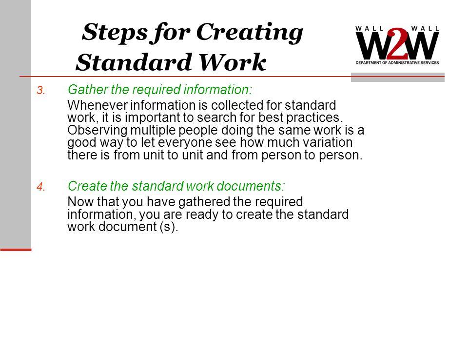 Steps for Creating Standard Work 3.