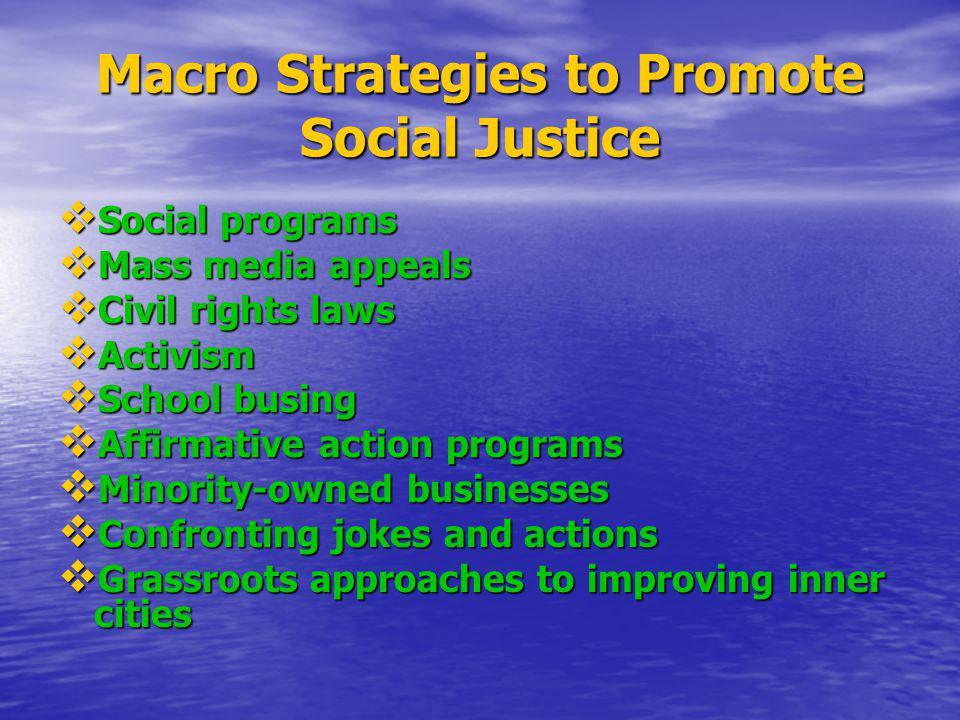 Macro Strategies to Promote Social Justice Social programs Social programs Mass media appeals Mass media appeals Civil rights laws Civil rights laws A