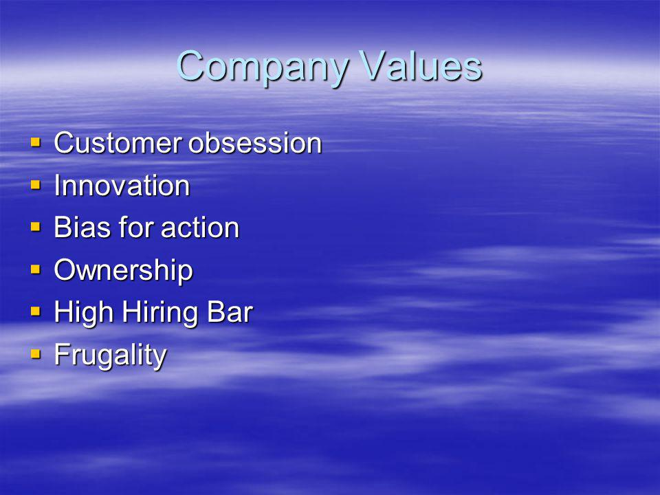 Company Values Customer obsession Customer obsession Innovation Innovation Bias for action Bias for action Ownership Ownership High Hiring Bar High Hiring Bar Frugality Frugality