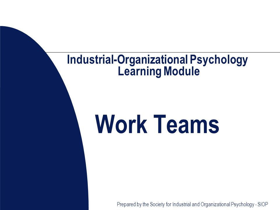 Prepared by the Society for Industrial and Organizational Psychology - SIOP Industrial-Organizational Psychology Learning Module Work Teams