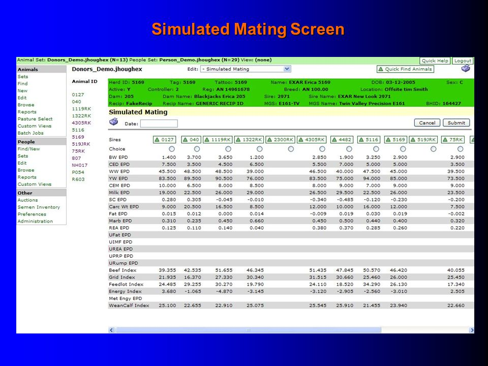 Simulated Mating Screen