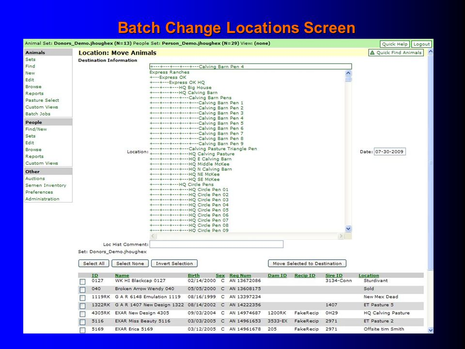 Batch Change Locations Screen