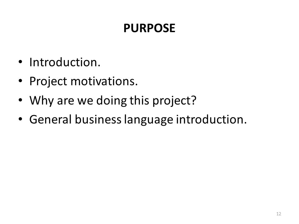 PURPOSE Introduction. Project motivations. Why are we doing this project? General business language introduction. 12