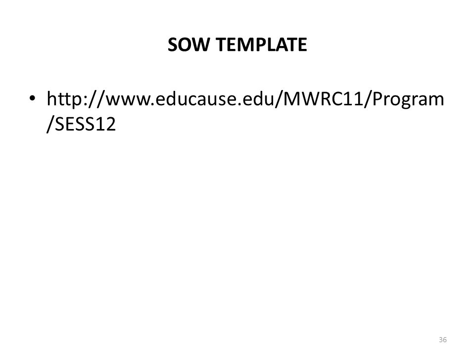 SOW TEMPLATE http://www.educause.edu/MWRC11/Program /SESS12 36