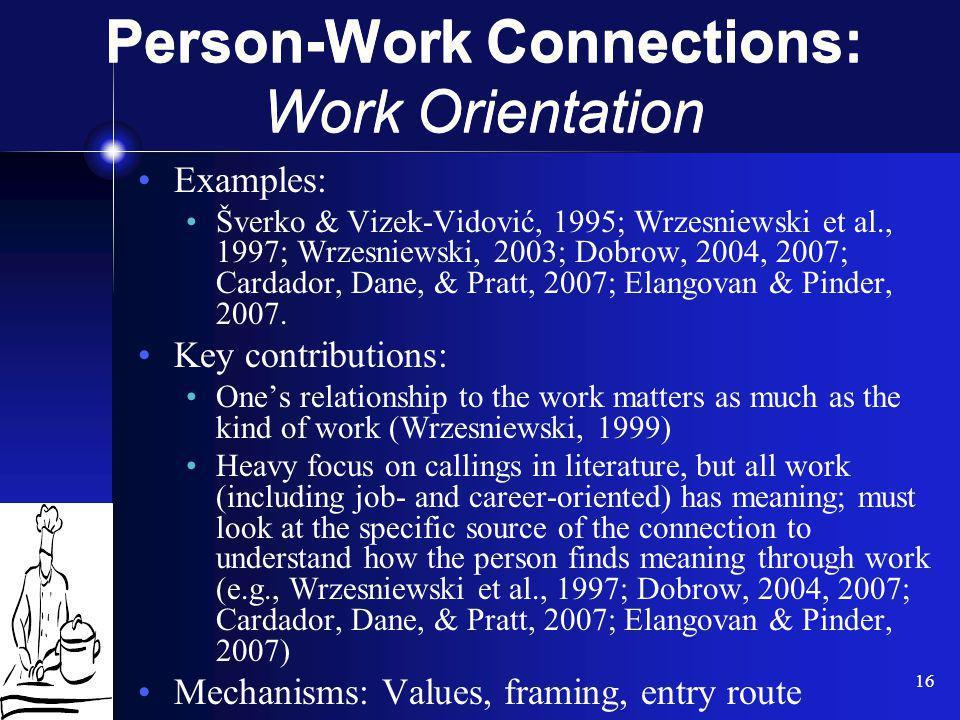 16 Examples: Šverko & Vizek-Vidović, 1995; Wrzesniewski et al., 1997; Wrzesniewski, 2003; Dobrow, 2004, 2007; Cardador, Dane, & Pratt, 2007; Elangovan
