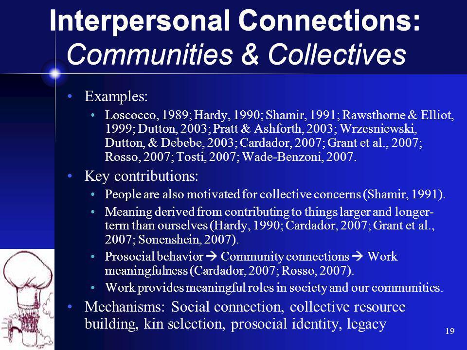 19 Examples: Loscocco, 1989; Hardy, 1990; Shamir, 1991; Rawsthorne & Elliot, 1999; Dutton, 2003; Pratt & Ashforth, 2003; Wrzesniewski, Dutton, & Debeb