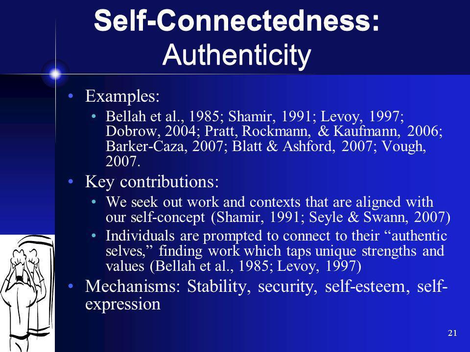21 Examples: Bellah et al., 1985; Shamir, 1991; Levoy, 1997; Dobrow, 2004; Pratt, Rockmann, & Kaufmann, 2006; Barker-Caza, 2007; Blatt & Ashford, 2007