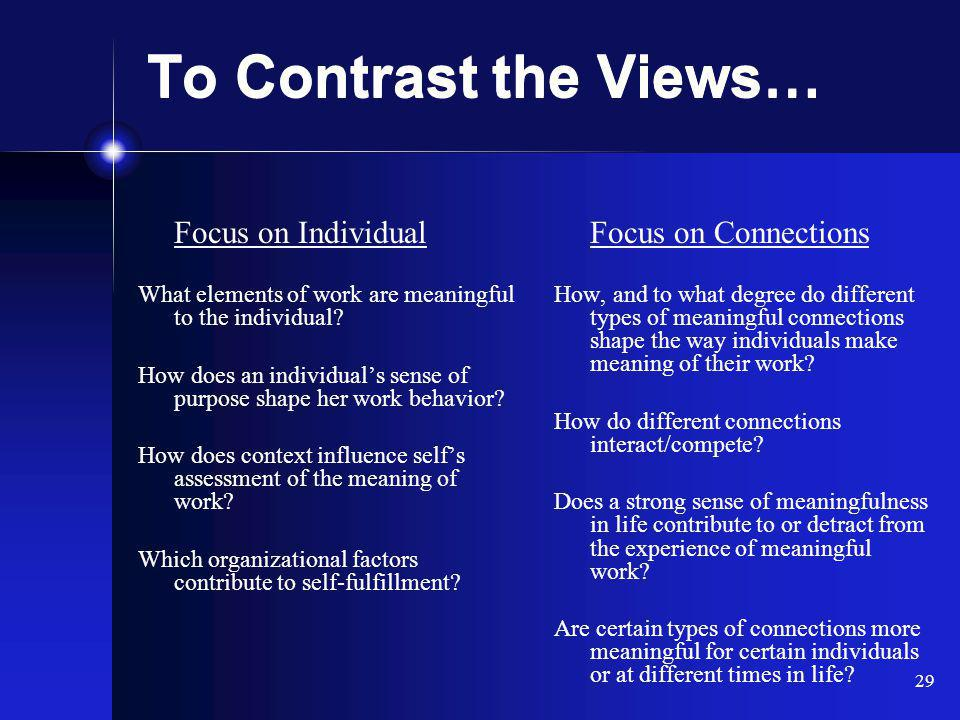 29 To Contrast the Views… Focus on Individual What elements of work are meaningful to the individual.
