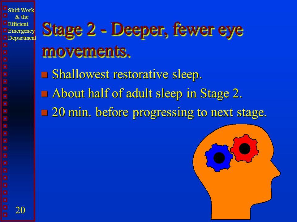 Shift Work & the Efficient Emergency Department 20 Stage 2 - Deeper, fewer eye movements. n Shallowest restorative sleep. n About half of adult sleep