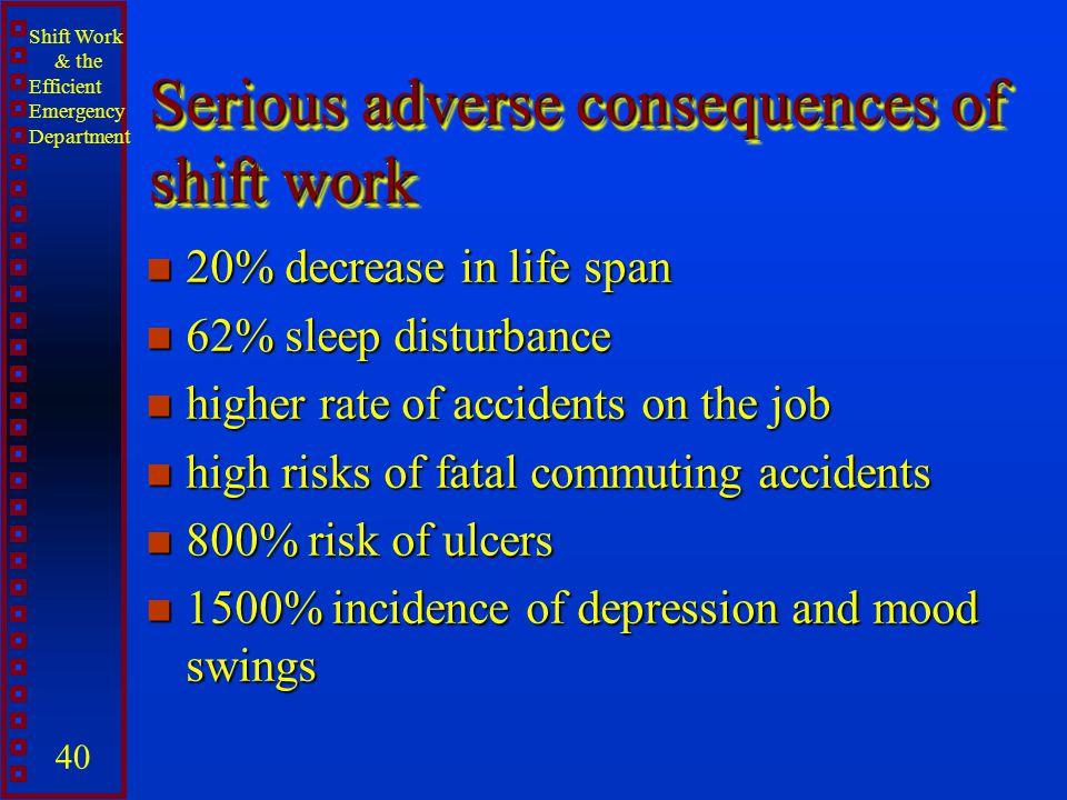 Shift Work & the Efficient Emergency Department 40 Serious adverse consequences of shift work n 20% decrease in life span n 62% sleep disturbance n hi