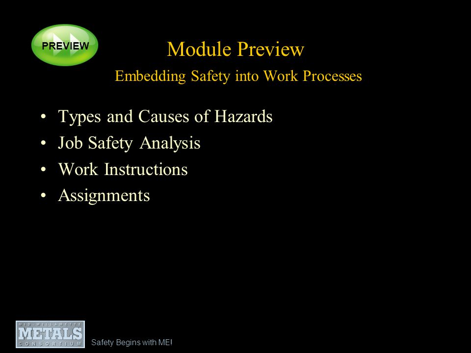 Safety Begins with ME! Module Preview Embedding Safety into Work Processes Types and Causes of Hazards Job Safety Analysis Work Instructions Assignmen