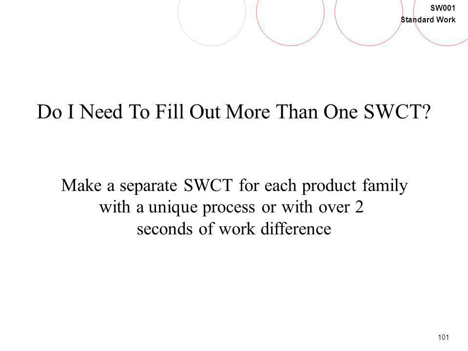 101 SW001 Standard Work Do I Need To Fill Out More Than One SWCT? Make a separate SWCT for each product family with a unique process or with over 2 se