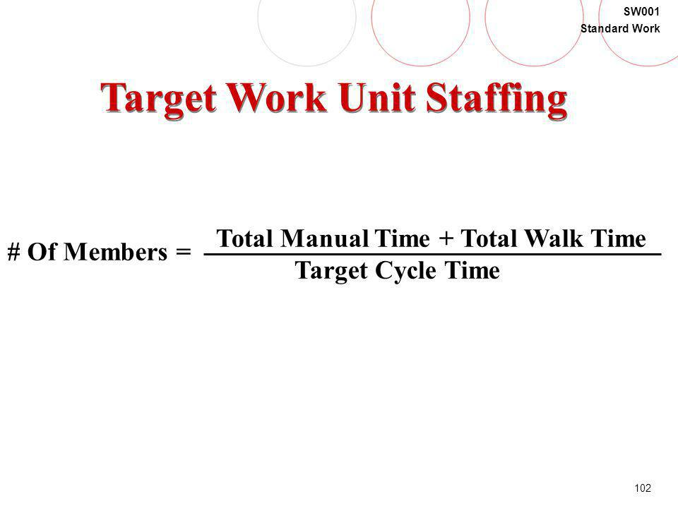 102 SW001 Standard Work Target Work Unit Staffing # Of Members = Total Manual Time + Total Walk Time Target Cycle Time