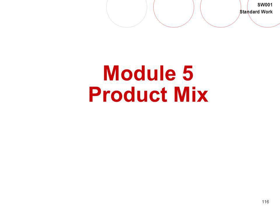 116 SW001 Standard Work Module 5 Product Mix