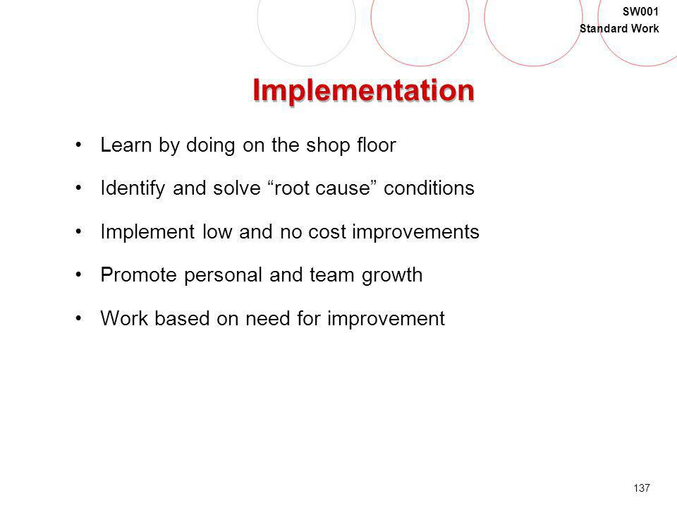 137 SW001 Standard Work Implementation Learn by doing on the shop floor Identify and solve root cause conditions Implement low and no cost improvement