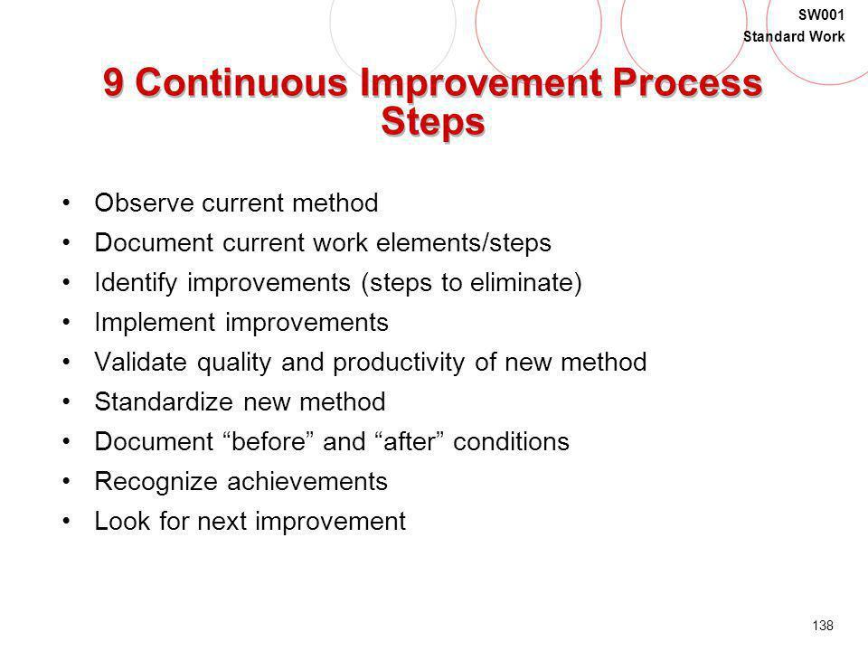 138 SW001 Standard Work 9 Continuous Improvement Process Steps Observe current method Document current work elements/steps Identify improvements (step