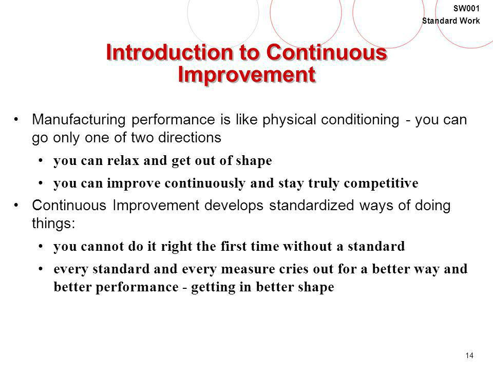 14 SW001 Standard Work Introduction to Continuous Improvement Manufacturing performance is like physical conditioning - you can go only one of two dir