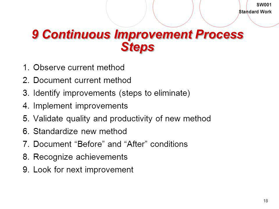 18 SW001 Standard Work 9 Continuous Improvement Process Steps 1.Observe current method 2.Document current method 3.Identify improvements (steps to eli