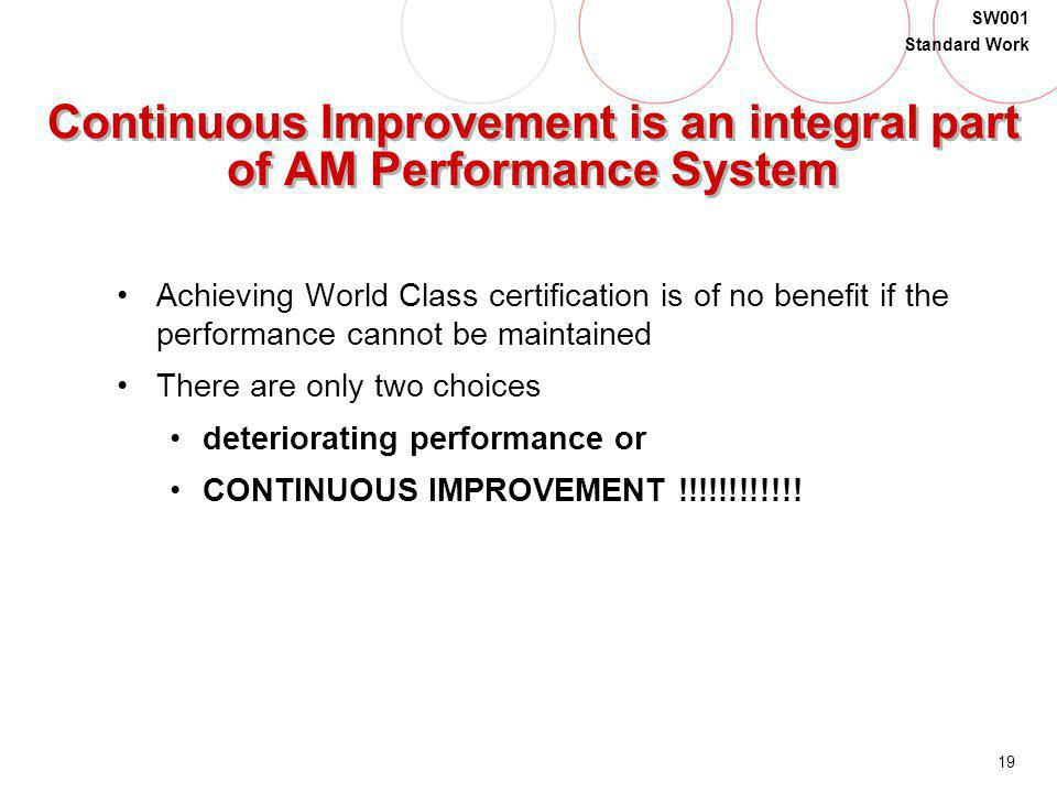 19 SW001 Standard Work Continuous Improvement is an integral part of AM Performance System Achieving World Class certification is of no benefit if the