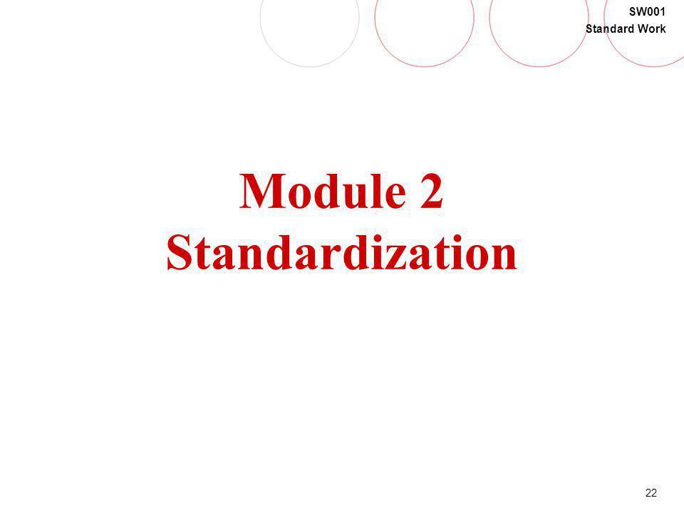 22 SW001 Standard Work Module 2 Standardization
