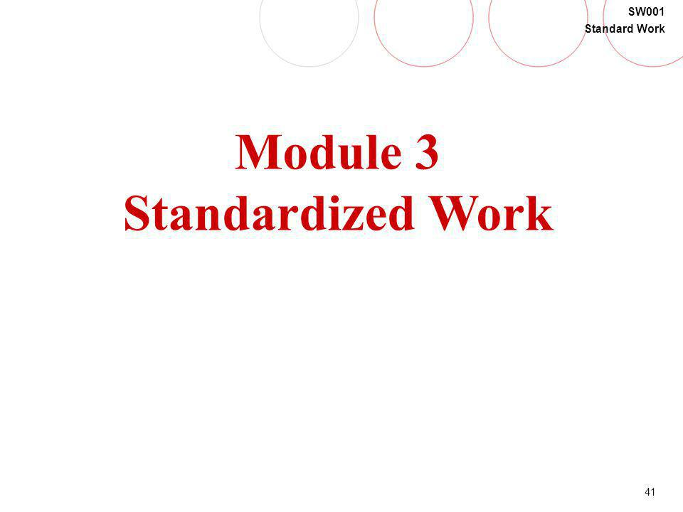 41 SW001 Standard Work Module 3 Standardized Work