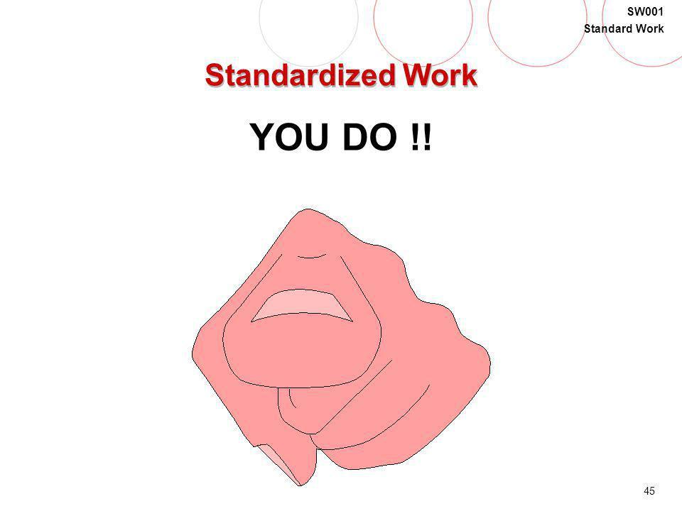 45 SW001 Standard Work Standardized Work YOU DO !!