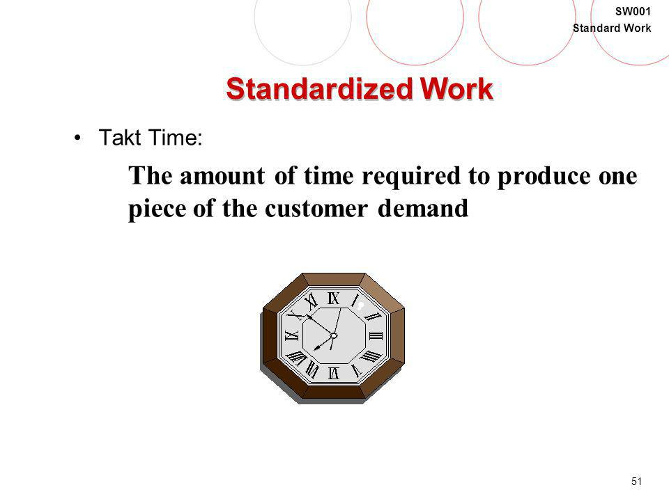 51 SW001 Standard Work Standardized Work Takt Time: The amount of time required to produce one piece of the customer demand