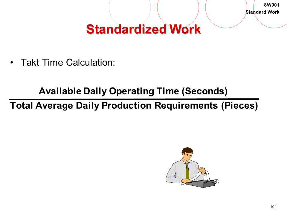 52 SW001 Standard Work Standardized Work Takt Time Calculation: Available Daily Operating Time (Seconds) Total Average Daily Production Requirements (