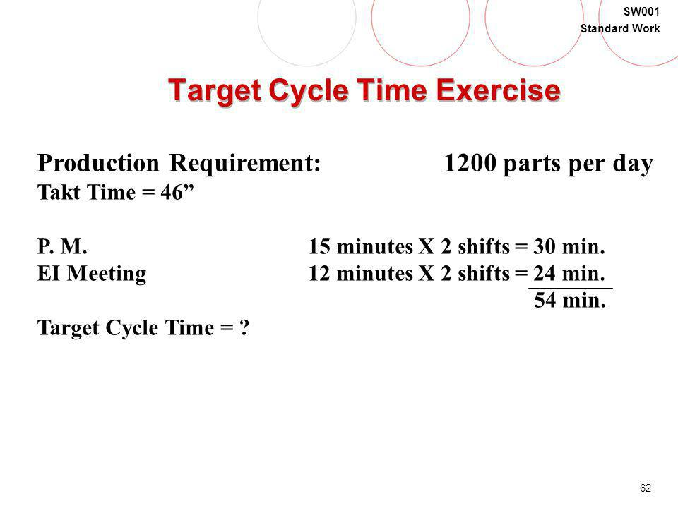62 SW001 Standard Work Target Cycle Time Exercise Production Requirement:1200 parts per day Takt Time = 46 P. M.15 minutes X 2 shifts = 30 min. EI Mee