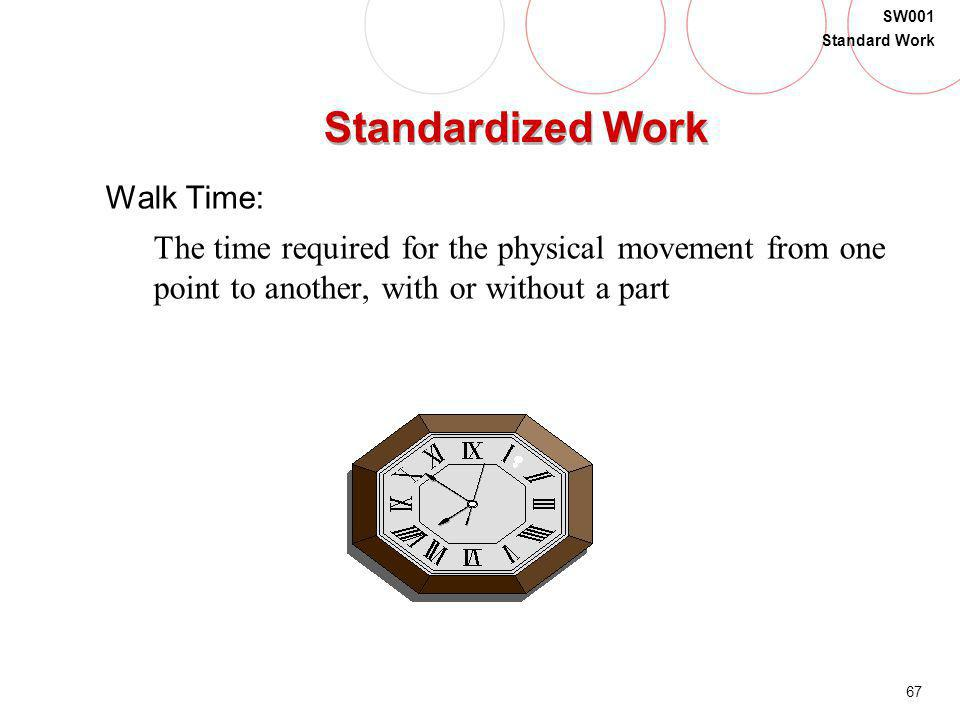 67 SW001 Standard Work Standardized Work Walk Time: The time required for the physical movement from one point to another, with or without a part