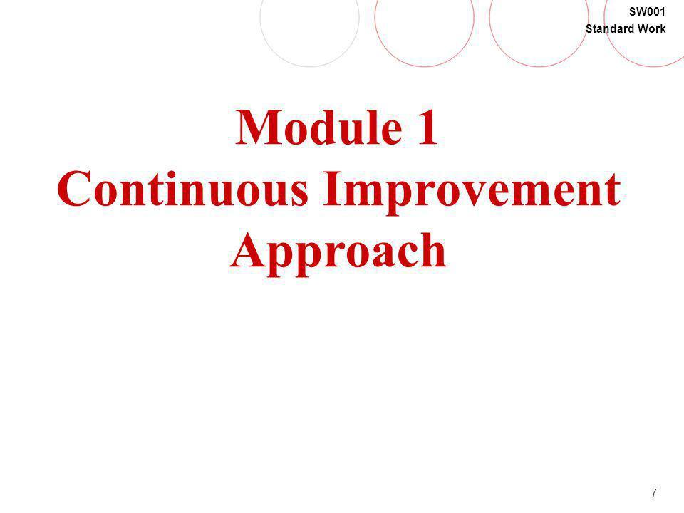7 SW001 Standard Work Module 1 Continuous Improvement Approach